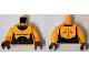 Part No: 973pb1863c01  Name: Torso Muscles Outline with Black Suit Pattern / Bright Light Orange Arms / Reddish Brown Hands