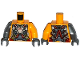 Part No: 973pb1949c01  Name: Torso Armor with Straps and Spiders on Front and Back Pattern / Bright Light Orange Arm Left / Flat Silver Arm Right / Dark Bluish Gray Hands