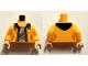 Part No: 973pb2206c01  Name: Torso Female Jacket Open with Dark Blue Hood over Light Bluish Gray Shirt and Light Flesh Neck Pattern / Bright Light Orange Arms / Light Flesh Hands