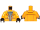 Part No: 973pb3640c01  Name: Torso Sand Blue Turtleneck Sweater and Raincoat with White Laces Pattern / Bright Light Orange Arms / Black Hands