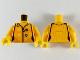 Part No: 973pb3754c01  Name: Torso Female Jumpsuit, Orange Trim, Silver Zipper, Red and Medium Azure Circles Pattern / Bright Light Orange Arms / Yellow Hands
