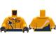 Part No: 973pb4174c01  Name: Torso Jacket with Dark Blue Stripe, Airplane and Gold Logo Pin Pattern / Bright Light Orange Arms / Black Hands
