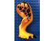 Part No: 98062c01pb07  Name: Dino Leg Large (Rear) Tyrannosaurus rex with Pin, Black Claws and Black Spots on Dark Orange Pattern - Right