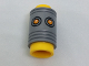 Part No: bb0756c01pb01  Name: Minifigure, Head Modified Pencil Top with Flat Silver Ferrule and Orange Eyes Pattern