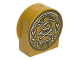 Part No: 14222pb001  Name: Duplo, Brick 1 x 3 x 2 Round Top, Cut Away Sides with Skull and Crossbones in Laurel Wreath Pattern