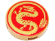 Part No: 14769pb319  Name: Tile, Round 2 x 2 with Bottom Stud Holder with Gold Dragon on Red Background Pattern