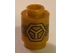 Part No: 3062bpb056  Name: Brick, Round 1 x 1 Open Stud with Gold Subdivided Hexagon and Wings Pattern