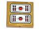 Part No: 3068bpb0790  Name: Tile 2 x 2 with Groove with Red Light Bars and Circles Pattern (Sticker) - Set 70505