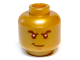 Part No: 3626cpb0877  Name: Minifigure, Head Male Black Bushy Eyebrows, White Pupils, Smirk Pattern - Hollow Stud