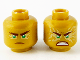 Part No: 3626cpb2290  Name: Minifigure, Head Dual Sided, Reddish Brown Eyebrows and Mouth, Green Eyes with Gold Energy Effect, Frown / Fierce Outburst Pattern - Hollow Stud
