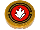 Part No: 4150pb129  Name: Tile, Round 2 x 2 with White Lion Head in Red Circle Pattern (Sticker) - Set 70500