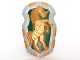 Part No: 54181pb01  Name: Large Figure Shield, 2 x 2 Brick Relief, Armored Horse (Unicorn) with Dark Green and Light Bluish Gray Pattern
