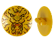 Part No: 75902pb17  Name: Minifigure, Shield Round with Rounded Front with Black and Gold Ninjago Lion Head Pattern
