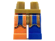 Part No: 970d41pb01  Name: Minifigure, Legs with Hips - 1 Blue Left Leg, 1 Orange Right Leg with Orange and Blue Coattails Pattern