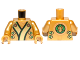 Part No: 973pb1348c01  Name: Torso Ninjago Robe with Black, Green and Gold Sash and Lion Head on Back Pattern / Pearl Gold Arms / Pearl Gold Hands