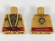 Part No: 973pb3063  Name: Torso Ninjago Robe, Metallic Gold and Copper Flames, Red Sash Pattern