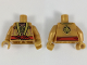 Part No: 973pb3063c01  Name: Torso Ninjago Robe, Metallic Gold and Copper Flames, Red Sash Pattern / Pearl Gold Arms / Pearl Gold Hands