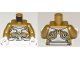 Part No: 973pb3261c01  Name: Torso Ninjago Armor White and Gold with White Sash Pattern / Pearl Gold Arms / White Hands