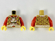 Part No: 973pb3460c01  Name: Torso Ornate Gold, White, and Dark Red Vest over Red Shirt Pattern / Red Arms / Yellow Hands