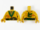 Part No: 973pb4152c01  Name: Torso Tunic with Green Hems and Sash, Gold Scale Armor, Dark Orange Dragon and Gold Ninjago Logogram 'L' Pattern / Pearl Gold Arms / Pearl Gold Hands