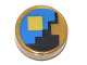 Part No: 98138pb078  Name: Tile, Round 1 x 1 with Yellow Square on Black and Blue Background Pattern (Minecraft Clock)