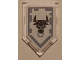 Part No: 22385pb076  Name: Tile, Modified 2 x 3 Pentagonal with Nexo Power Shield Pattern - Metal Minotaur