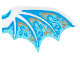 Part No: 25348a  Name: Plastic Wing Dragon with White Spines, Dark Azure and Gold Scrollwork and White Sparkles Pattern