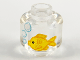 Part No: 28621pb0017  Name: Minifigure, Head (Without Face) Yellow Fish and White Bubbles Pattern - Vented Stud