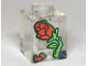 Part No: 3005pb039  Name: Brick 1 x 1 with Red Rose and Petal, Green Stem and Metallic Pink Stars Pattern