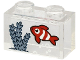 Part No: 3065pb09  Name: Brick 1 x 2 without Bottom Tube with Red Fish with White Stripes and Sand Blue Seagrass on Transparent Background Pattern (Sticker) - Set 60265