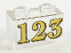Part No: 3065pb16  Name: Brick 1 x 2 without Bottom Tube with Gold '123' Pattern