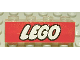 Part No: 3066px10  Name: Brick 1 x 4 without Bottom Tubes with White LEGO Logo on Red Pattern