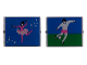 Part No: 3855pb007  Name: Glass for Window 1 x 4 x 3 with Ballerina one side / Soccer Player other side Pattern (Stickers) - Set 5890