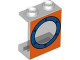 Part No: 4864bpx16  Name: Panel 1 x 2 x 2 - Hollow Studs with Blue Porthole on Orange Background Pattern