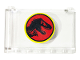 Part No: 64453pb011  Name: Windscreen 1 x 6 x 3 with Jurassic Park Logo Pattern (Sticker) - Set 75932