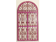 Part No: 65066pb02  Name: Glass for Door Frame 1 x 6 x 7 Rounded Pillars with Top Arch and Notches with Dark Pink Panes and Ornate Lines Pattern
