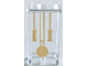 Part No: 87544pb057  Name: Panel 1 x 2 x 3 with Side Supports - Hollow Studs with Gold Grandfather Clock Pendulum and Chains Pattern (Sticker) - Set 41068