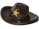Part No: 13565pb01  Name: Minifigure, Headgear Hat, Very Wide Brim, Outback Style (Fedora) with Gold Sheriff Star Pattern