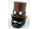 Part No: 35179pb01  Name: Minifigure, Headgear Hat, Top Hat Large with Black Beard and Band with Goggles Pattern