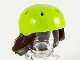 Part No: 54647pb01  Name: Minifigure, Hair Combo, Hair with Hat, Long Hair with Lime Bicycle Helmet Pattern