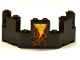 Part No: 6066pb01  Name: Castle Turret Top 4 x 8 x 2 1/3 with Cracks and Lava Pattern (Sticker) - Set 70321
