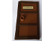 Part No: 60797c03pb02  Name: Door 1 x 4 x 6 with 3 Panes and Stud Handle with Reddish Brown Glass and 'P. VENKMAN' Pattern (Sticker) - Set 75827
