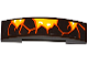 Part No: 93273pb060L  Name: Slope, Curved 4 x 1 Double with Orange Cracks and Lava Pattern Model Left Side (Sticker) - Set 70321