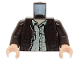 Part No: 973pb0131c01  Name: Torso Indiana Jones Leather Jacket, Button Down Shirt Pattern / Dark Brown Arms / Light Flesh Hands