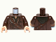 Part No: 973pb1289c01  Name: Torso LotR Coat with Shoulder Strap, Silver Buckle and Dark Green Hood Pattern / Dark Brown Arms / Light Flesh Hands