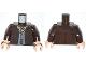 Part No: 973pb1427c01  Name: Torso Jacket with Dark Bluish Gray Vest and Dark Tan Ascot Pattern / Dark Brown Arms / Light Nougat Hands