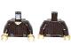 Part No: 973pb1487c01  Name: Torso SW Shirt Vertical Pleats Pattern (Ree-Yees) / Dark Brown Arms / Tan Hands