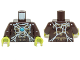 Part No: 973pb1636c01  Name: Torso Chima Bare Chest with Spider Web, Dark Tan Spider and Blue Round Jewel (Chi) Pattern / Dark Brown Arms / Lime Hands