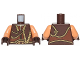 Part No: 973pb1891c01  Name: Torso SW Gungan Vest with Gold Trim Front and Back Pattern / Nougat Arms / Dark Brown Hands
