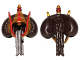 Part No: 98119pb01  Name: Minifigure, Hair Bun with Braid and Gold Hood with Royal Insignia Pattern (SW Queen Amidala)